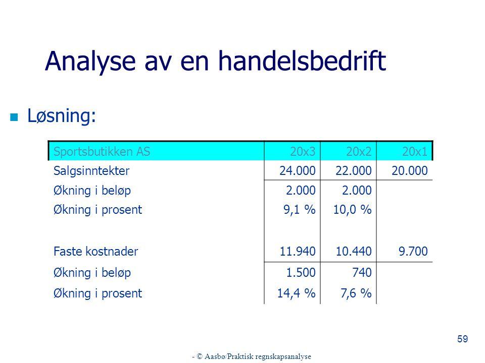 - © Aasbø/Praktisk regnskapsanalyse
