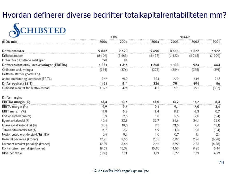Hvordan definerer diverse bedrifter totalkapitalrentabiliteten mm