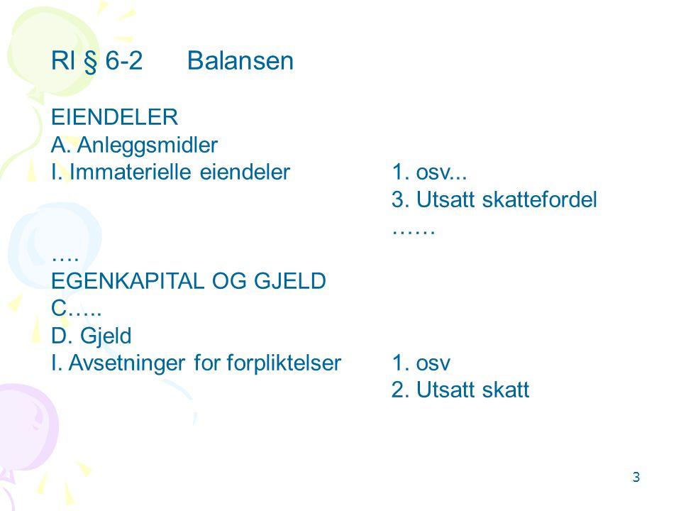 Rl § 6-2 Balansen EIENDELER A. Anleggsmidler
