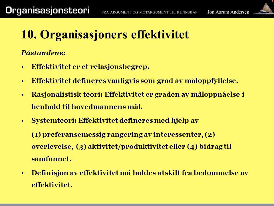 10. Organisasjoners effektivitet