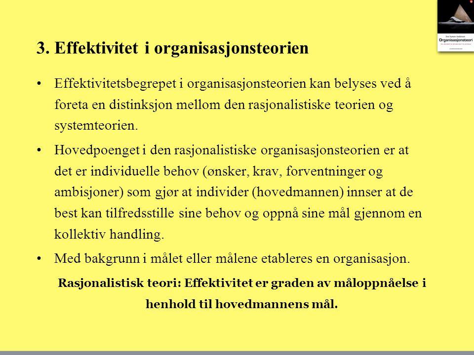 3. Effektivitet i organisasjonsteorien