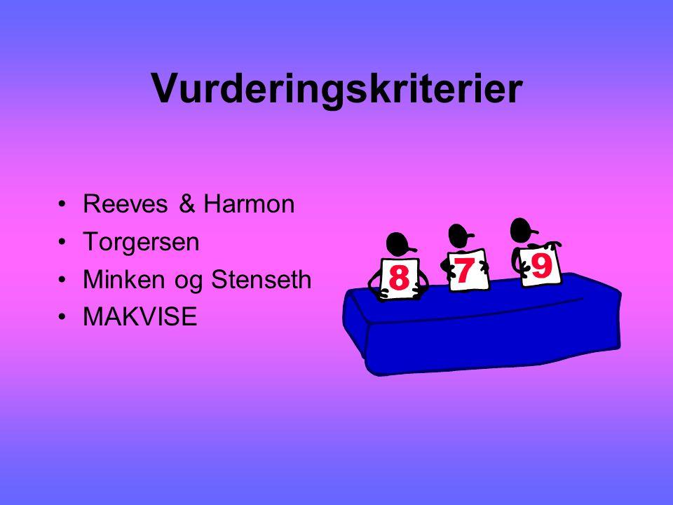 Vurderingskriterier Reeves & Harmon Torgersen Minken og Stenseth