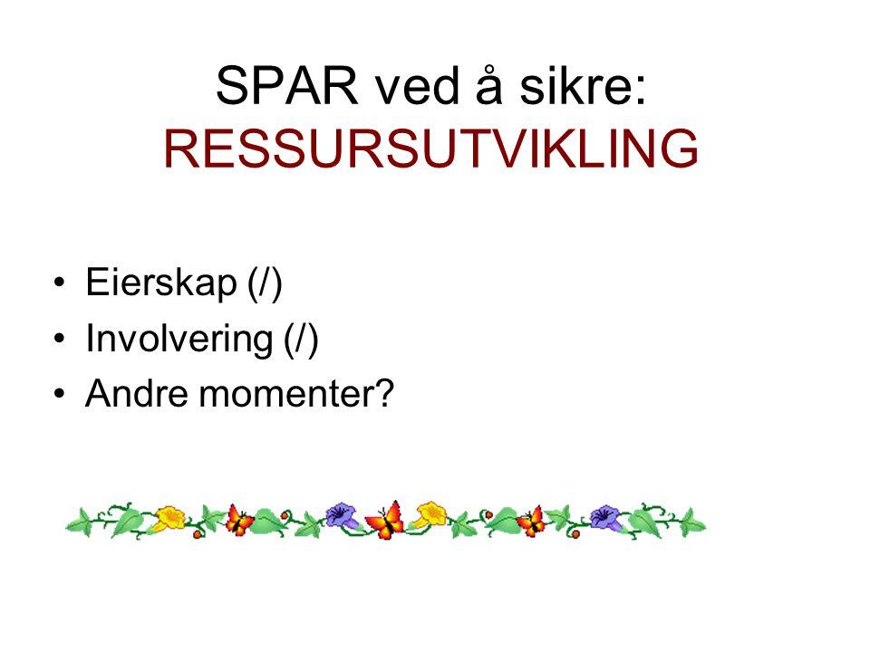 SPAR ved å sikre: RESSURSUTVIKLING