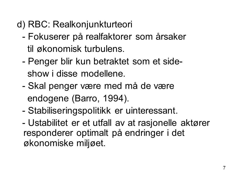 d) RBC: Realkonjunkturteori