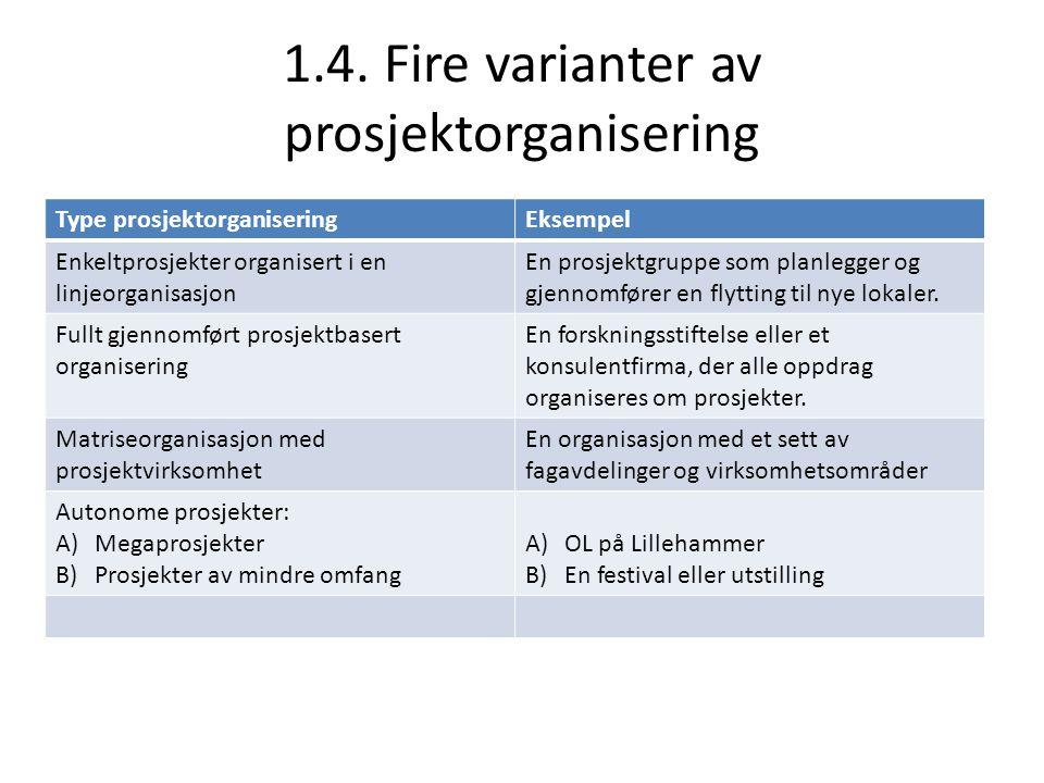1.4. Fire varianter av prosjektorganisering