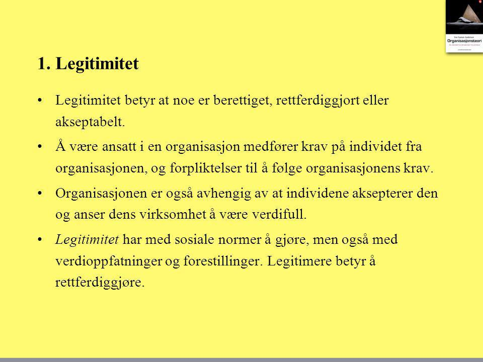 1. Legitimitet Legitimitet betyr at noe er berettiget, rettferdiggjort eller akseptabelt.
