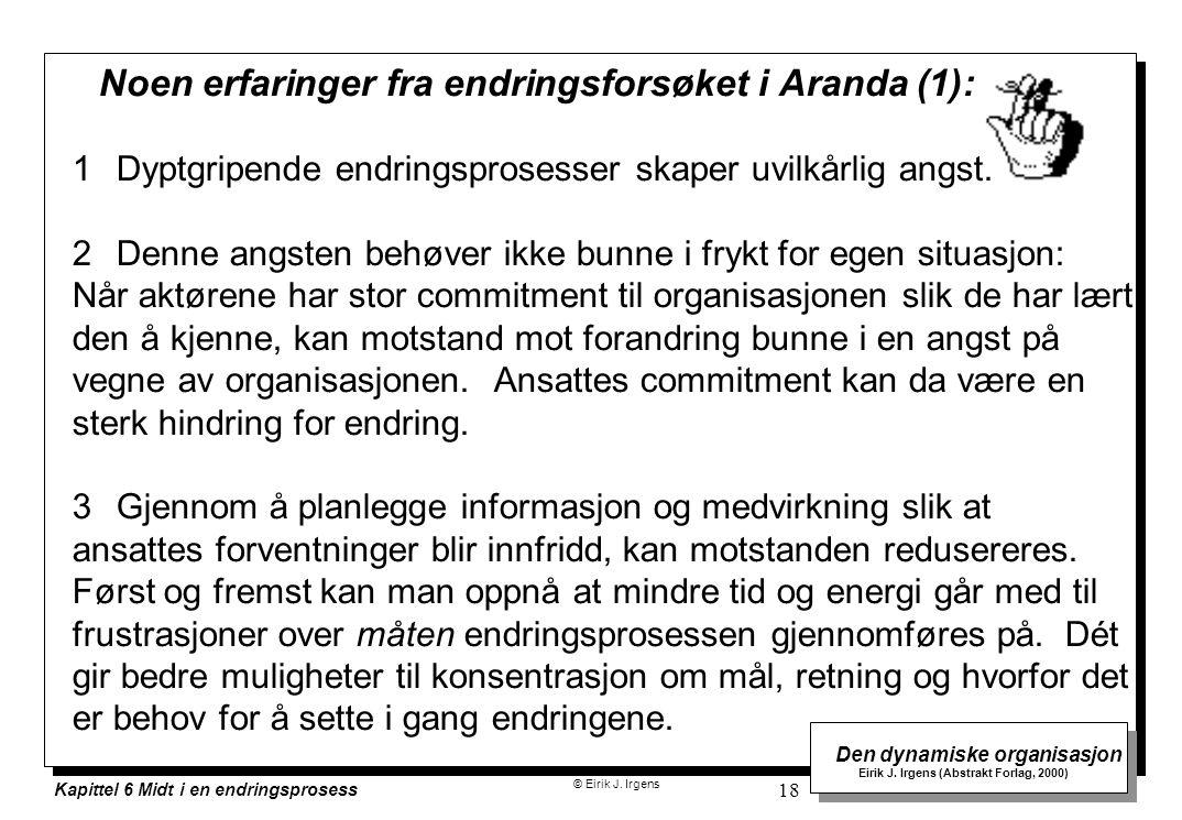 Noen erfaringer fra endringsforsøket i Aranda (1):