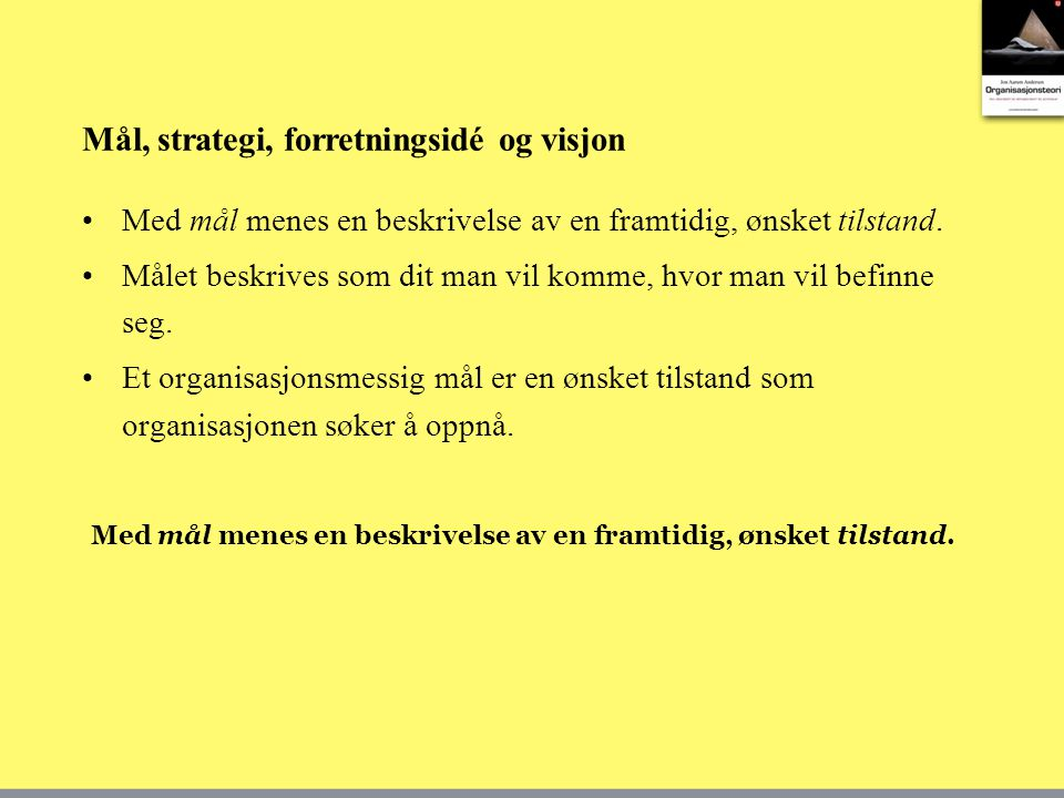 Mål, strategi, forretningsidé og visjon
