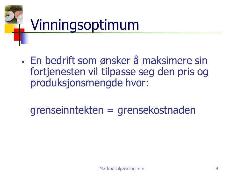 Vinningsoptimum En bedrift som ønsker å maksimere sin fortjenesten vil tilpasse seg den pris og produksjonsmengde hvor: