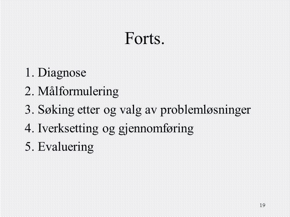Forts. 1. Diagnose 2. Målformulering