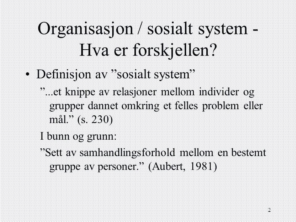 Organisasjon / sosialt system - Hva er forskjellen
