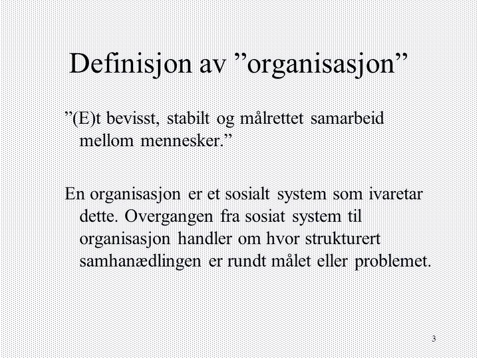 Definisjon av organisasjon
