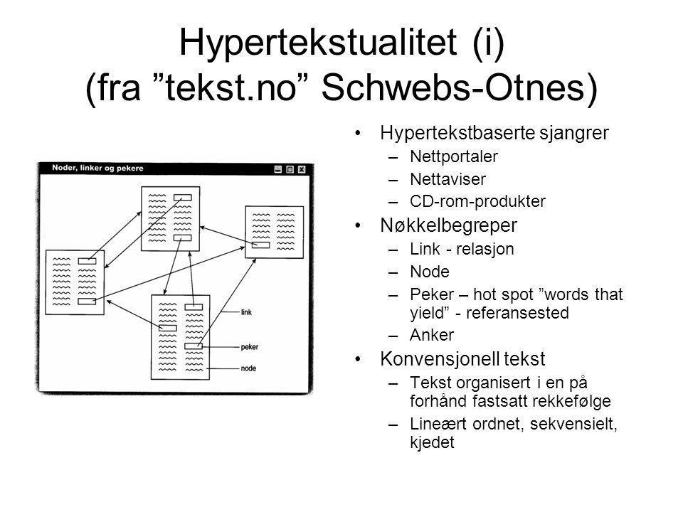 Hypertekstualitet (i) (fra tekst.no Schwebs-Otnes)