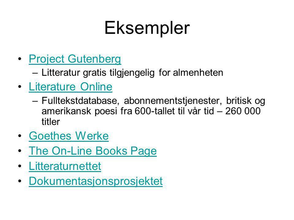 Eksempler Project Gutenberg Literature Online Goethes Werke
