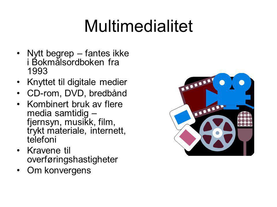 Multimedialitet Nytt begrep – fantes ikke i Bokmålsordboken fra 1993