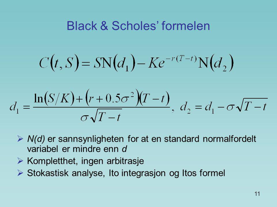 Black & Scholes' formelen