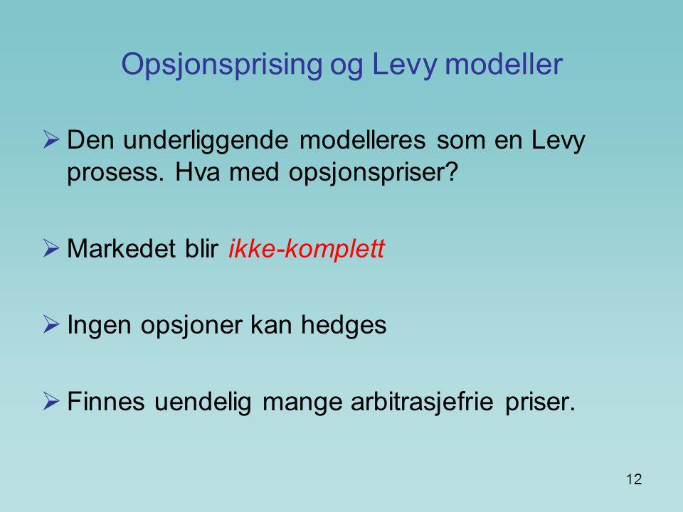 Opsjonsprising og Levy modeller
