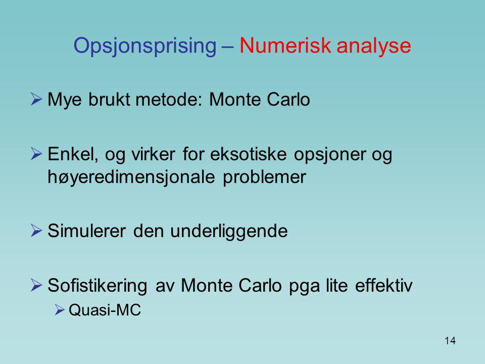 Opsjonsprising – Numerisk analyse