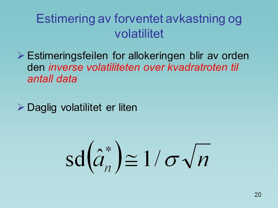 Estimering av forventet avkastning og volatilitet