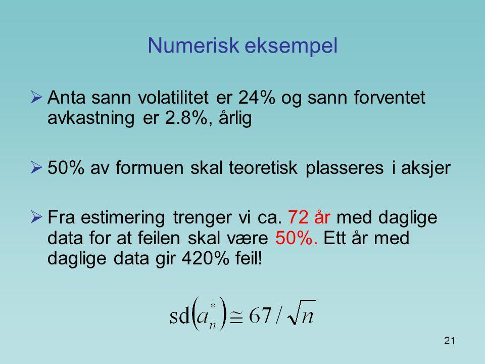 Numerisk eksempel Anta sann volatilitet er 24% og sann forventet avkastning er 2.8%, årlig. 50% av formuen skal teoretisk plasseres i aksjer.