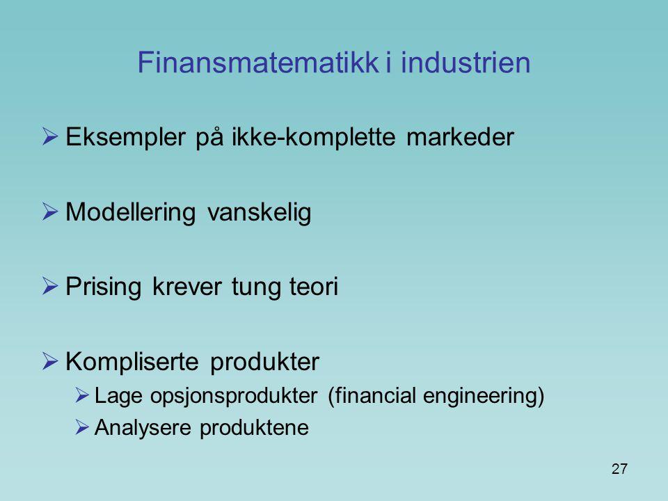 Finansmatematikk i industrien