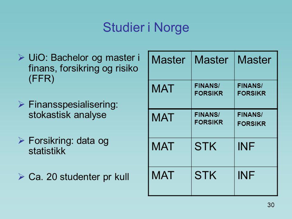 Studier i Norge Master MAT STK INF