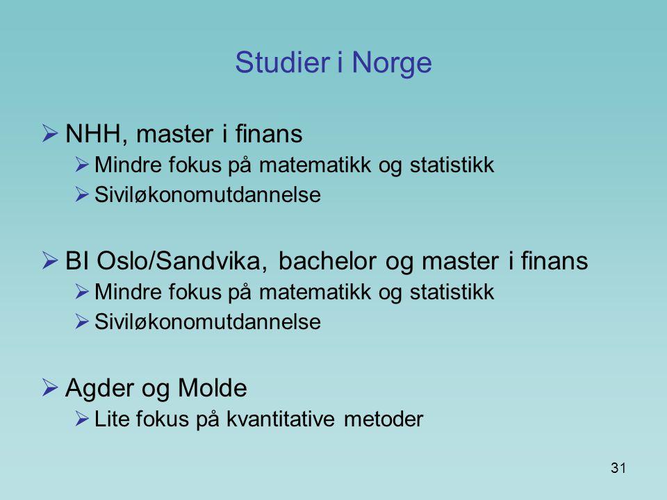 Studier i Norge NHH, master i finans