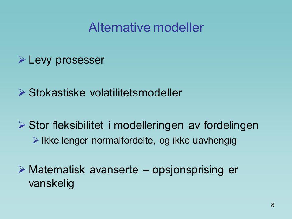 Alternative modeller Levy prosesser Stokastiske volatilitetsmodeller