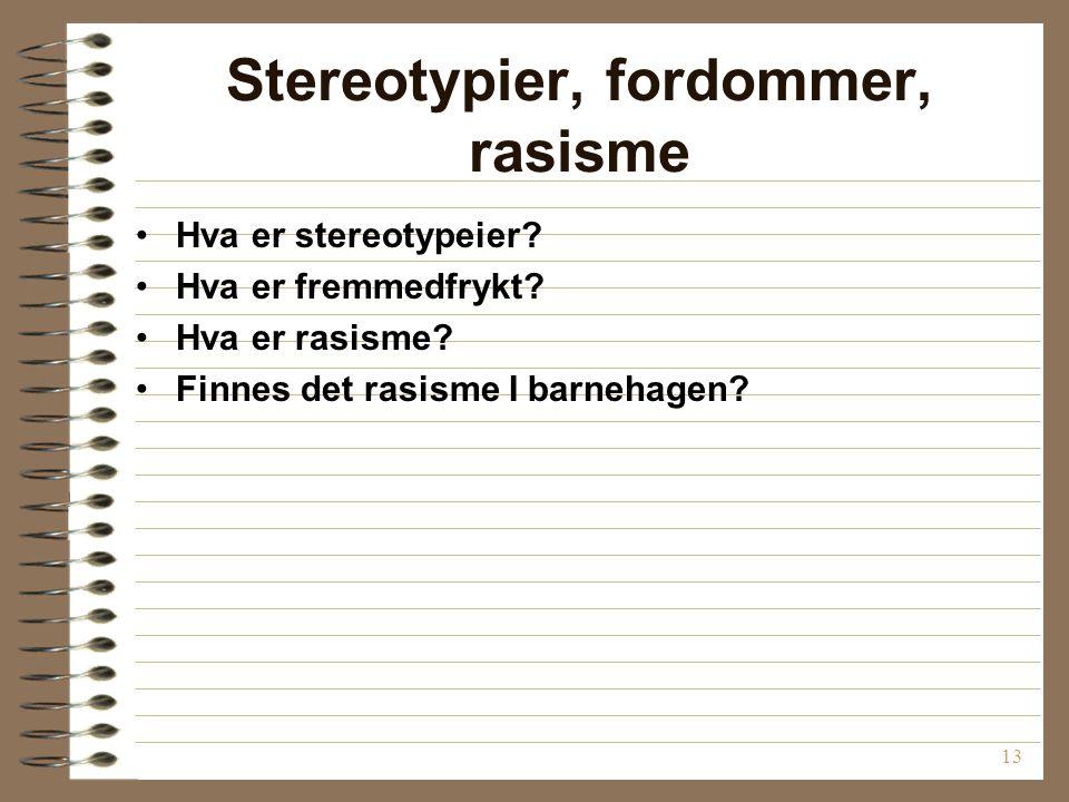 Stereotypier, fordommer, rasisme