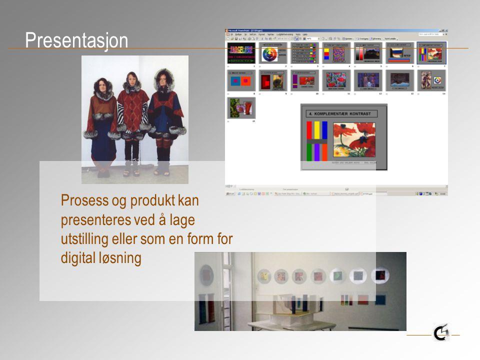 Presentasjon Prosess og produkt kan presenteres ved å lage utstilling eller som en form for digital løsning.