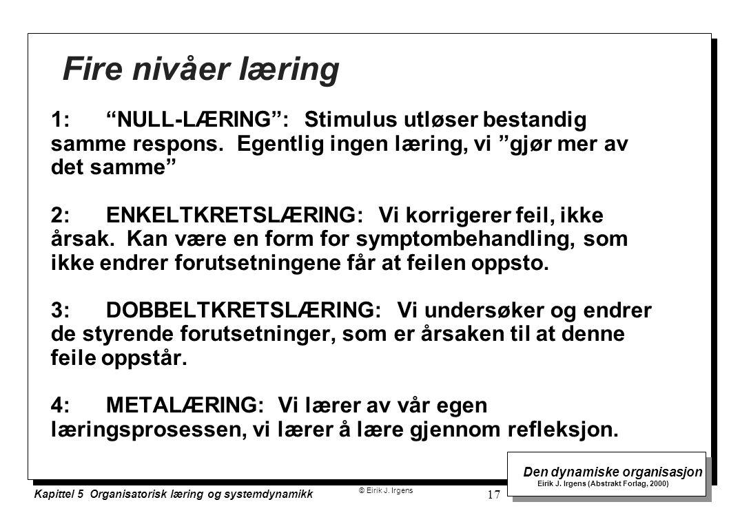 Fire nivåer læring 1: NULL-LÆRING : Stimulus utløser bestandig samme respons. Egentlig ingen læring, vi gjør mer av det samme