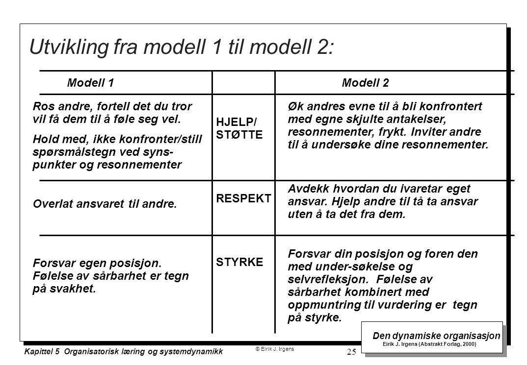 Utvikling fra modell 1 til modell 2: