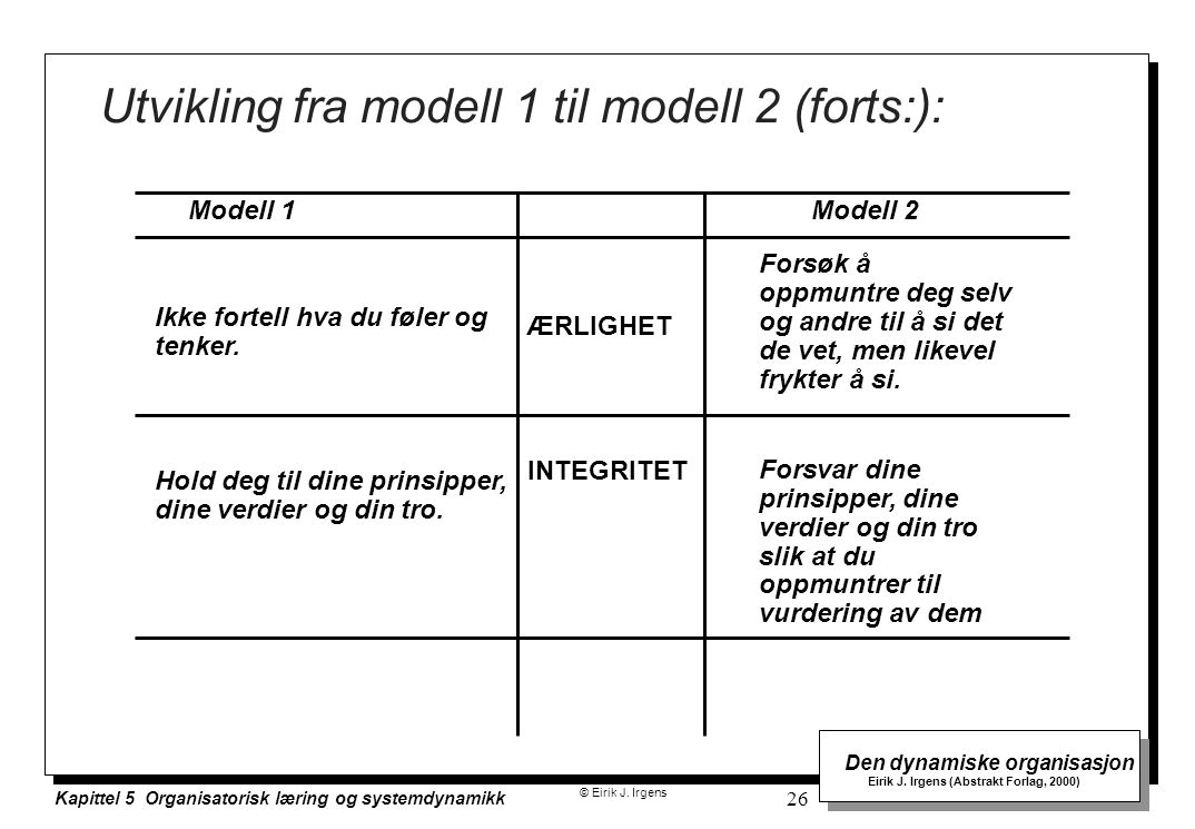 Utvikling fra modell 1 til modell 2 (forts:):