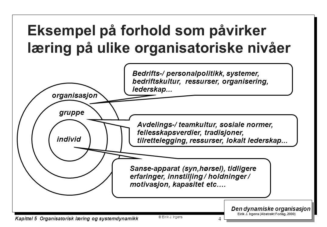 Eksempel på forhold som påvirker læring på ulike organisatoriske nivåer