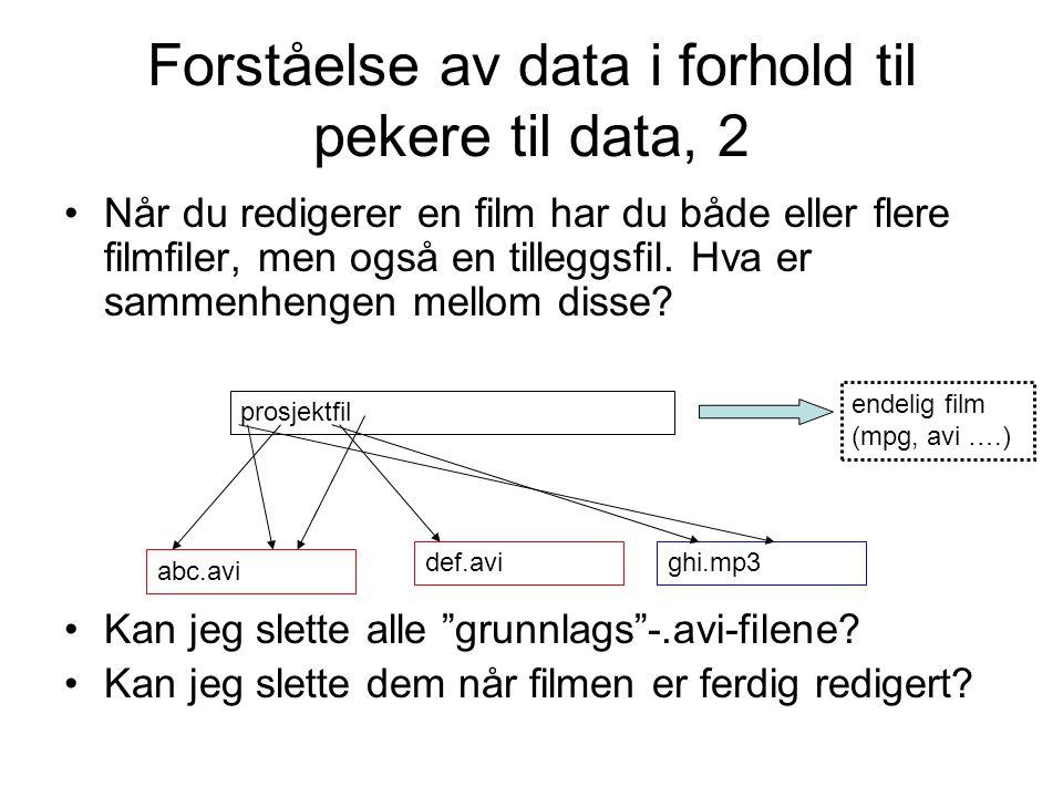 Forståelse av data i forhold til pekere til data, 2