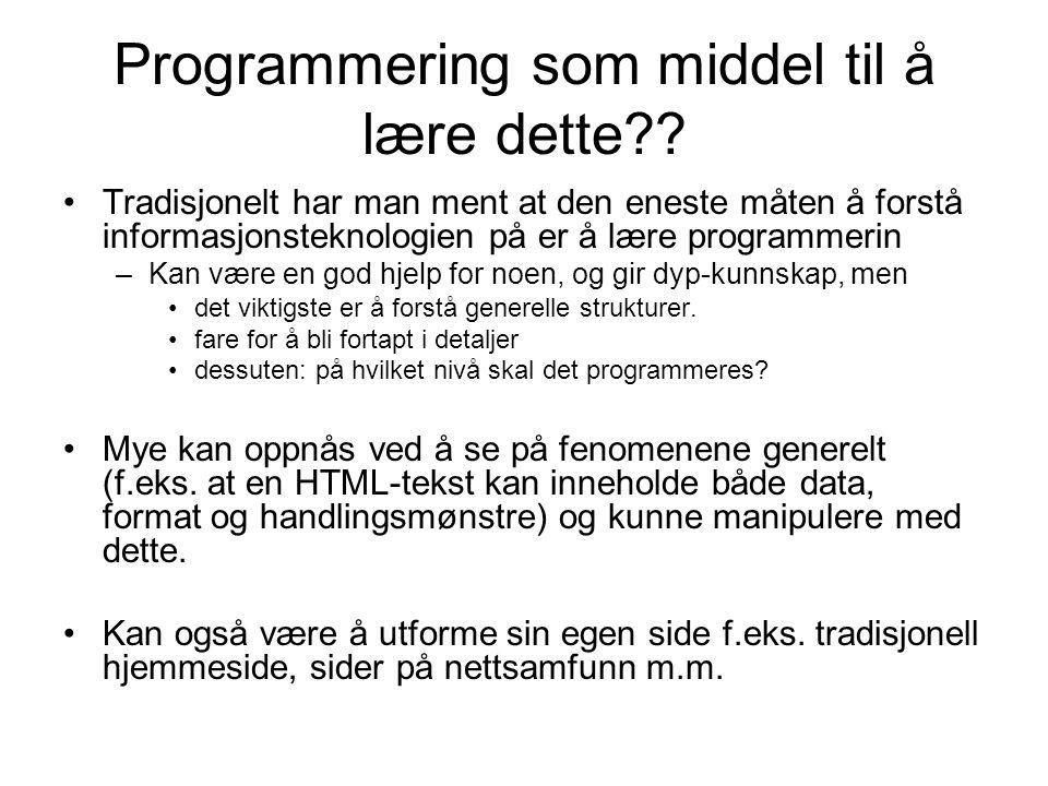 Programmering som middel til å lære dette