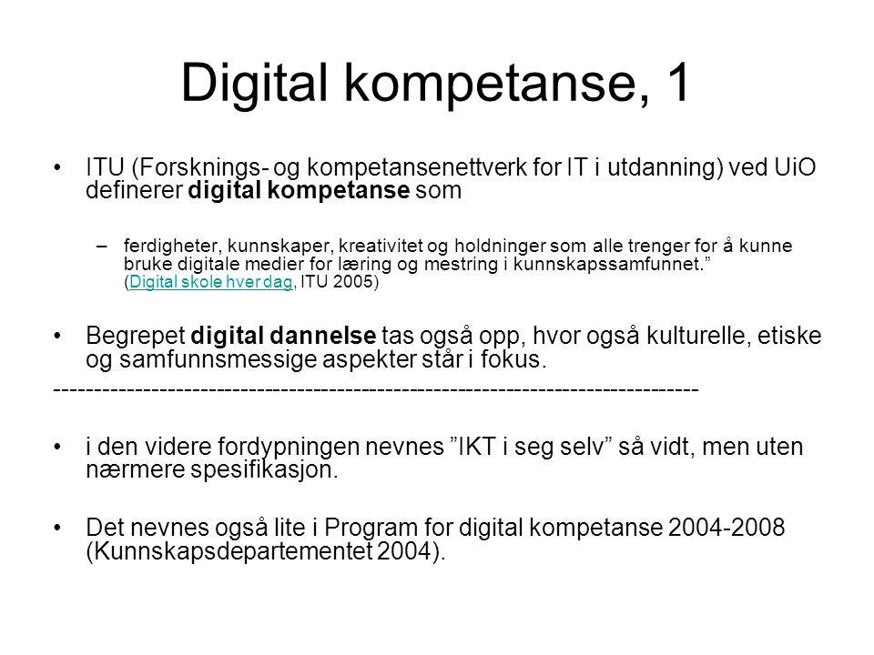 Digital kompetanse, 1 ITU (Forsknings- og kompetansenettverk for IT i utdanning) ved UiO definerer digital kompetanse som.