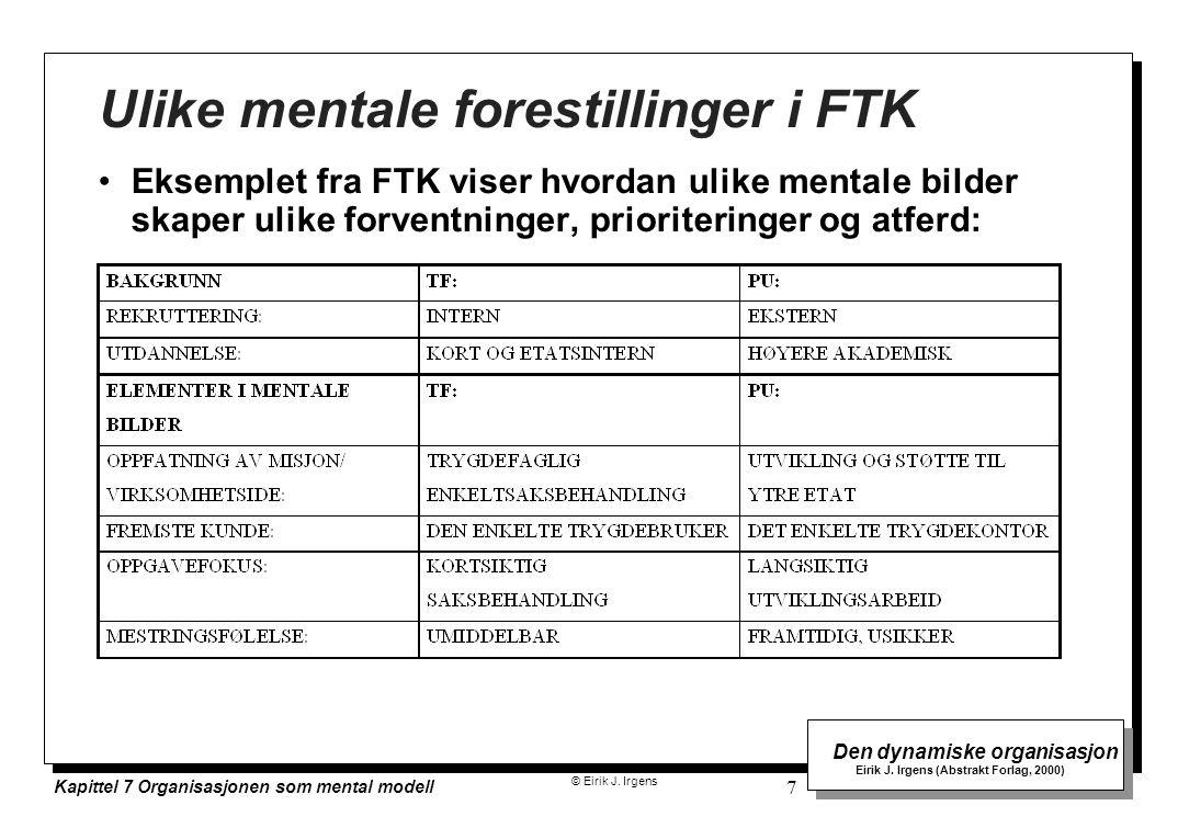 Ulike mentale forestillinger i FTK