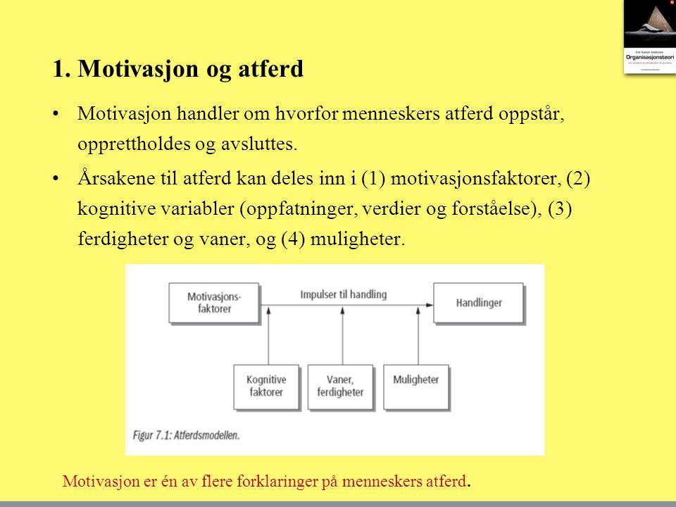 1. Motivasjon og atferd Motivasjon handler om hvorfor menneskers atferd oppstår, opprettholdes og avsluttes.