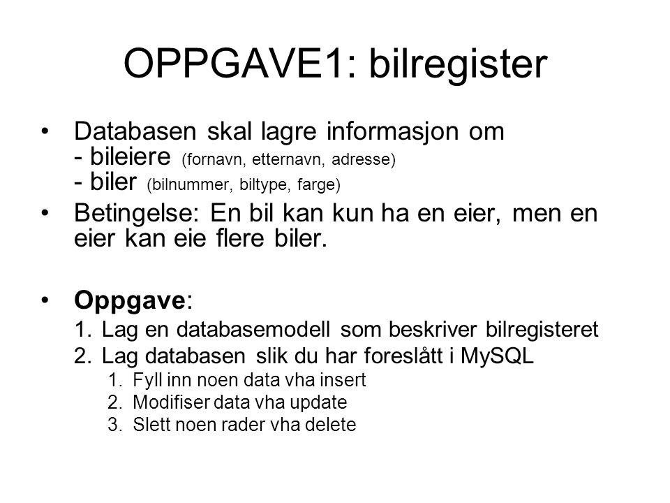 OPPGAVE1: bilregister Databasen skal lagre informasjon om - bileiere (fornavn, etternavn, adresse) - biler (bilnummer, biltype, farge)