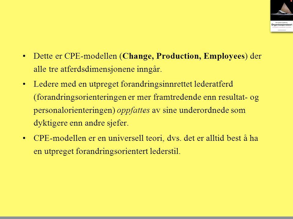 Dette er CPE-modellen (Change, Production, Employees) der alle tre atferdsdimensjonene inngår.