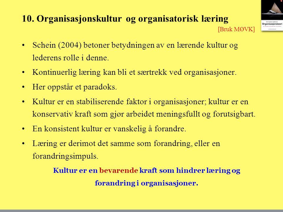 10. Organisasjonskultur og organisatorisk læring