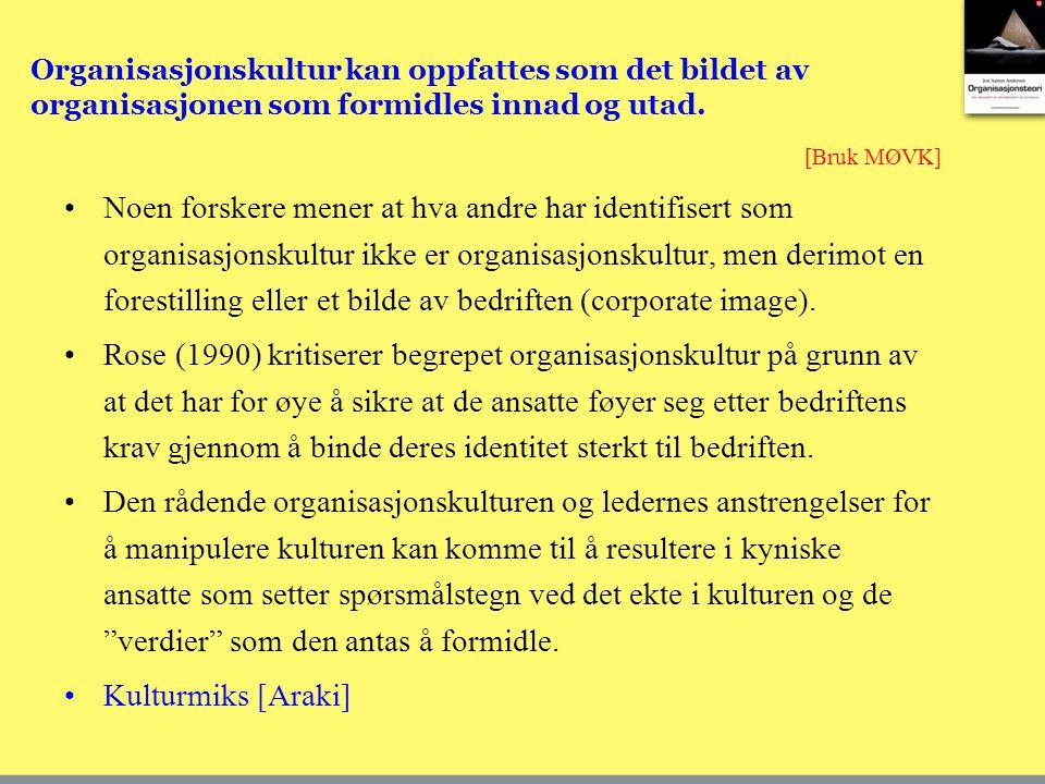 Organisasjonskultur kan oppfattes som det bildet av organisasjonen som formidles innad og utad.