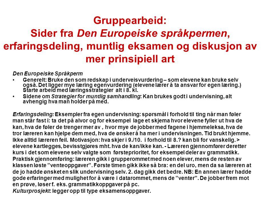 Gruppearbeid: Sider fra Den Europeiske språkpermen, erfaringsdeling, muntlig eksamen og diskusjon av mer prinsipiell art