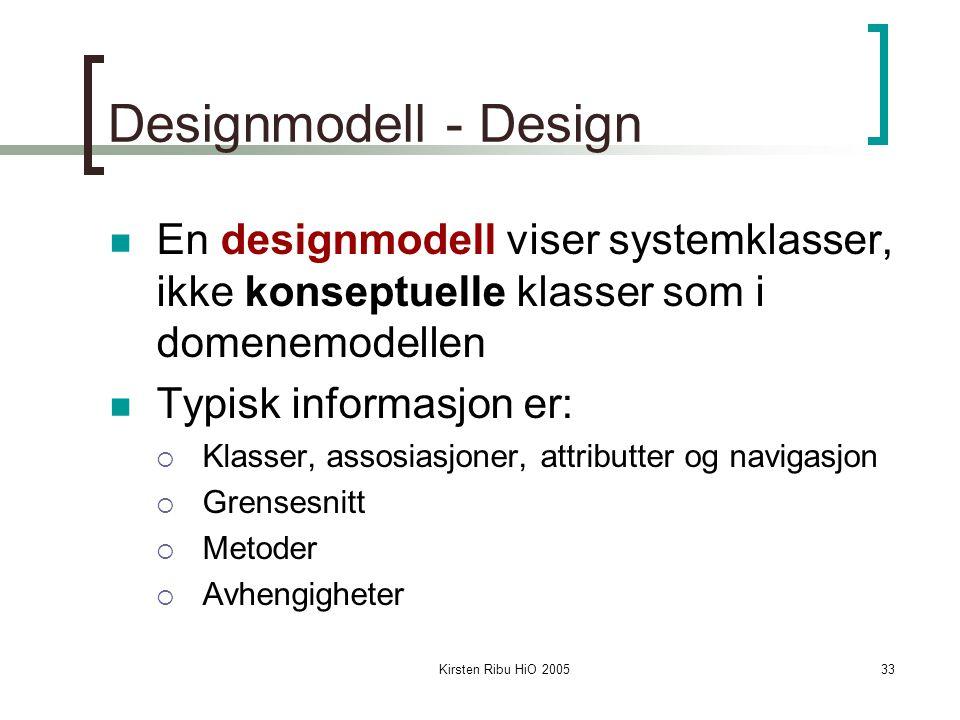 Designmodell - Design En designmodell viser systemklasser, ikke konseptuelle klasser som i domenemodellen.