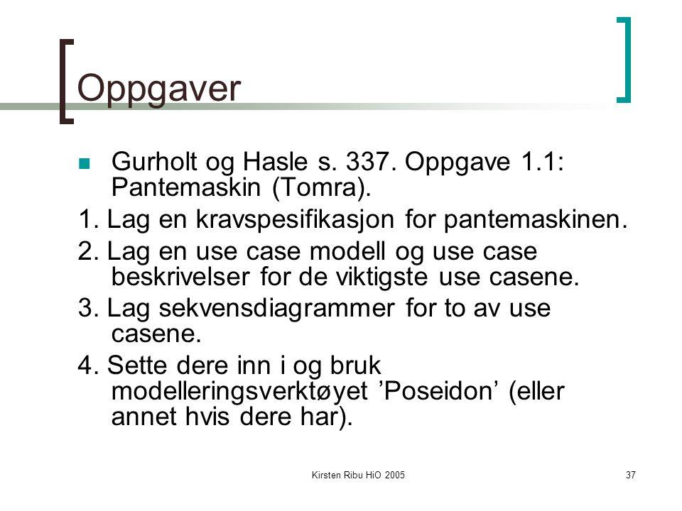 Oppgaver Gurholt og Hasle s. 337. Oppgave 1.1: Pantemaskin (Tomra).