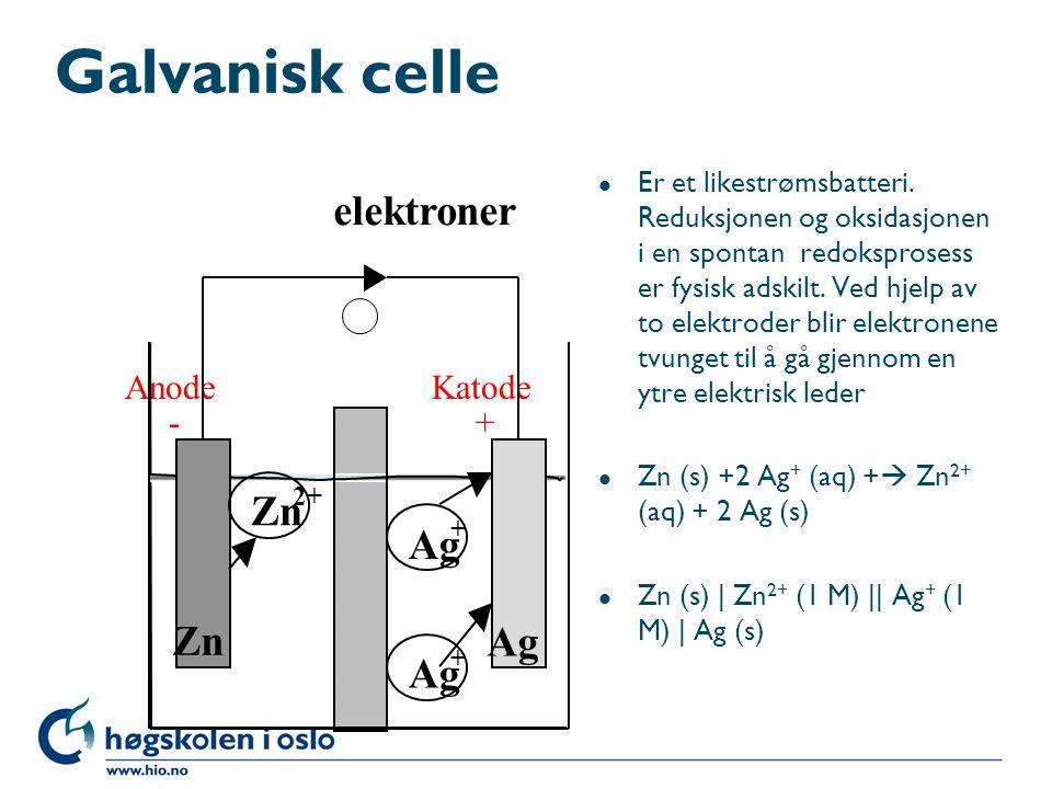 Galvanisk celle elektroner Zn Ag Anode Katode - +