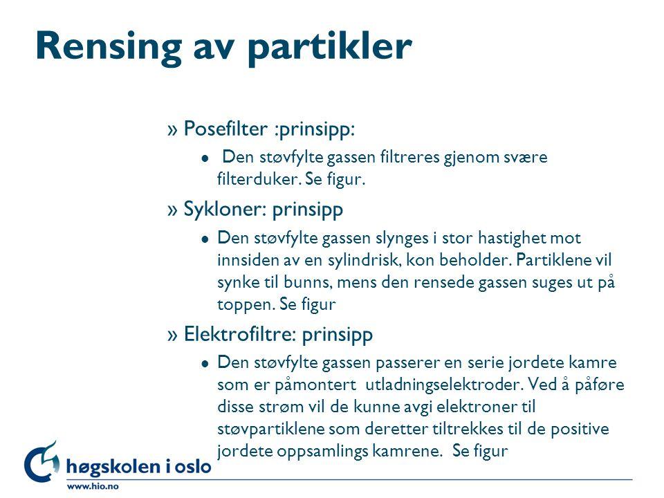Rensing av partikler Posefilter :prinsipp: Sykloner: prinsipp