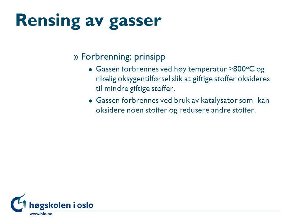 Rensing av gasser Forbrenning: prinsipp