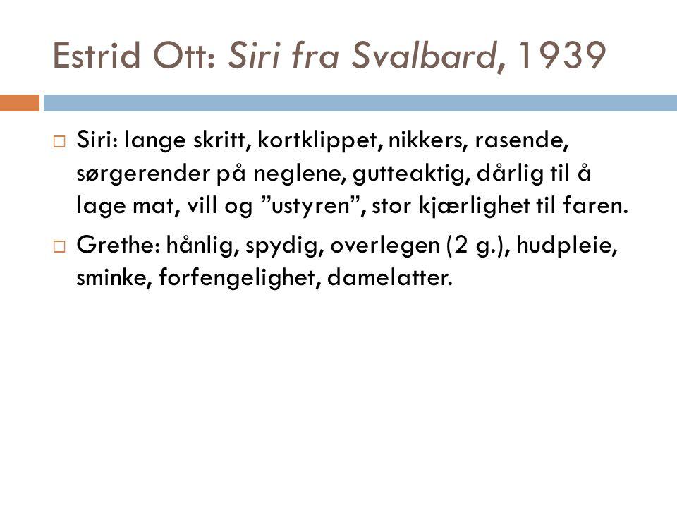 Estrid Ott: Siri fra Svalbard, 1939